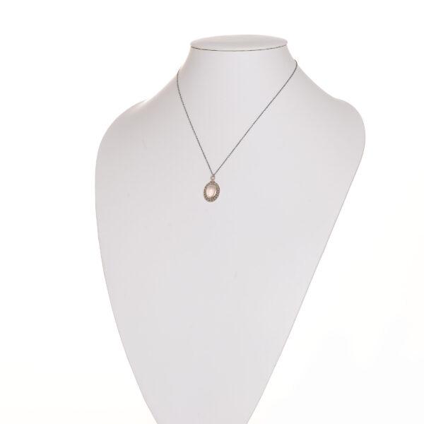 rose quartz fine silver granulated pendant on oxidized 20 inch sterling silver chain