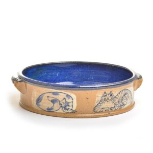 Wheel thrown handled baking dish with hand painted cats and a beautiful blue glaze by artist Ann Gleason.
