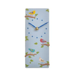 Rectangle Bird Clock in blue