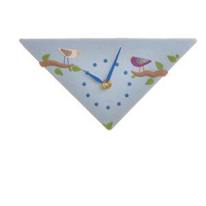 Triangle Bird Clock light blue polymer clay